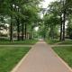 Brick walkway on college campus