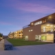 futuristic residence halls at dusk
