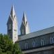 Spires of grey stone gothic chapel
