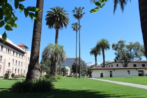 Californian Spanish-style buildings with palm trees